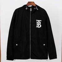 Burberry 2019 new TB letter printed LOGO loose zipper hooded trench coat Black