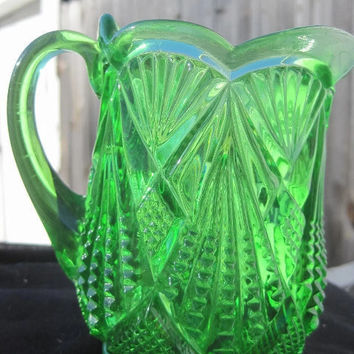Victorian Pressed Glass Vaseline Green Creamer or Mini Pitcher Early 1900's Uranium Glass