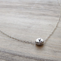 Silver Initial Bean Necklace Charm