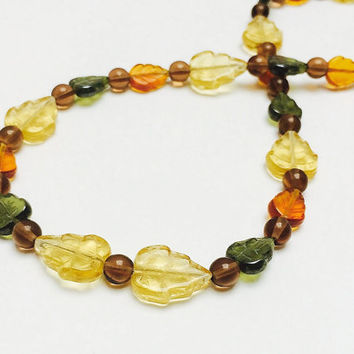 Fall leaf necklace, beaded necklace, fall colors, Autumn, strand necklace, leaves, Halloween, Thanksgiving, orange, taupe, yellow, green