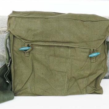 Vintage Military Bag, Messenger Bag, Bulgarian Army Canvas Bag, Green Khaki USSR bag, Cold War, haversack, Crossbody bag, Collectibles