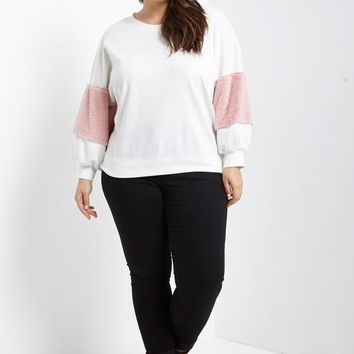 Curvy Fuzzy Sleeve Pullover Top