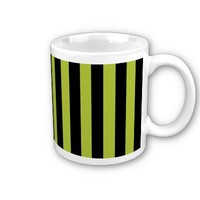 Acid Green And Vertical Black Stripes Patterns Mugs from Zazzle.com