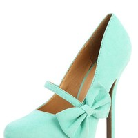 Wild Diva Lounge Viola-08 Mint Bow Mary Jane Pumps and Shop Shoes at MakeMeChic.com