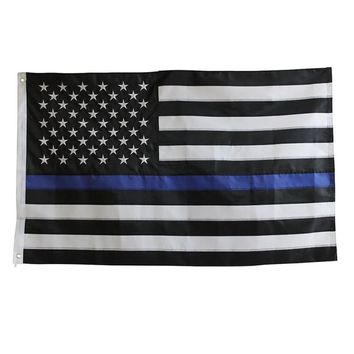 90*150cm Subdued Thin Blue Line Stripes American Flags grommets , Police ,Cops Flags ,Black, White, Blue Flags LH8s