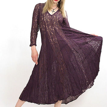 Vintage 90s Grunge boho sheer lace maxi dress