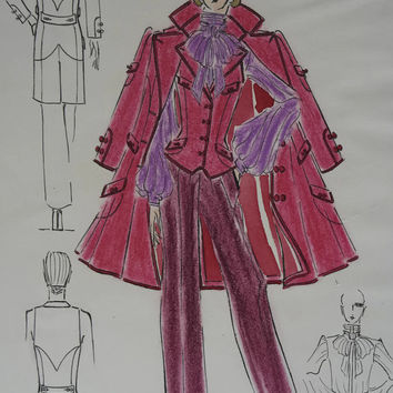 Haute Couture Fashion Sketch. Fashion Designer Drawing of Pink Coat. Fashion Illustration