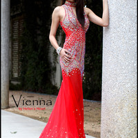 Halter Collar Vienna Pageant Formal Gown JHA082
