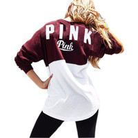 Fashion Casual Women Hoody Letter Print Pink Patchwork Hoodie 2016 Autumn Winter Sweatshirt Hoodies Women's Tracksuit GV387