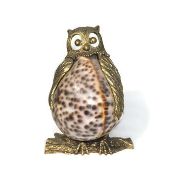 Vintage Brass and Seashell Owl Figurine - Shell Bodied Brass Owl on Perch, Rare and Unique Collectible