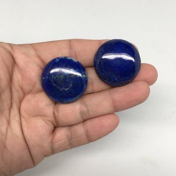 2pcs, 115cts, 19mm-20mm Natural Lapis Lazuli Round Cabochons @Afghanistan,CP79