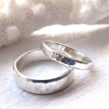 rustic silver ring set with gemstone - rustic wedding rings hammered wedding rings silver wedding rings hammered silver sapphire silver ring