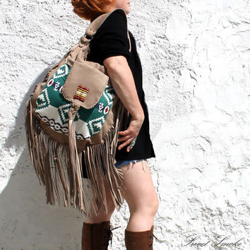 Southwestern southwest native indian bag tribal tote ethnic fringed long fringe bag suede leather tan bag western navajo navaho mexican