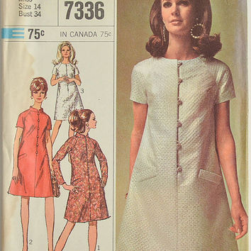1960's Vintage Sewing Pattern - Simplicity 7336 - Ladies' Dress - Size 14 - Bust 34