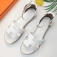 Hermes Summer Trending Women Casual Leather Sandals Shoes White