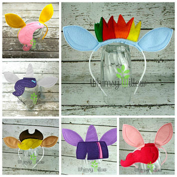 Set of Pony Headband Ears ITH Embroidery Design