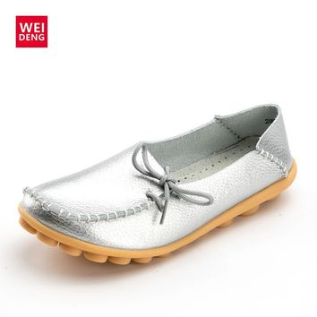 WeiDeng Women Genuine Leather Flat Gommino Moccasin Loafers Casual Ladies Slip On Cow Driving Fashion Ballet Boat Shoes Winter