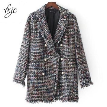 Autumn Pearl Button Jacket Hairy Colorful Knitted Turn Down Collar Coat Long Style Outwear Wool Blends Tops