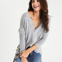AEO Soft & Sexy Plush Boyfriend Cardigan, Light Gray