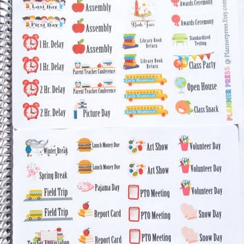 Fun Theme School Sampler Set Planner Sticker for Erin Condren Life Planner (ECLP) Reminder Sticker