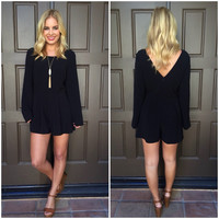 Black Cat Long Sleeve Romper