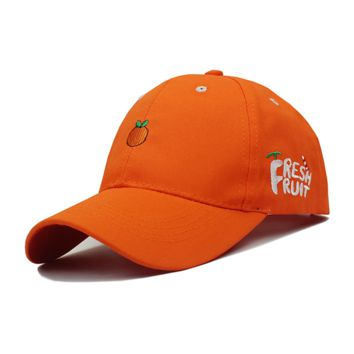 Orange Fresh Fruit Embroidered Baseball cotton cap Hat