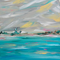 Abstract Landscape Artwork Original Art 11x14 Turquoise Blue Green Gray Wall Art Painting