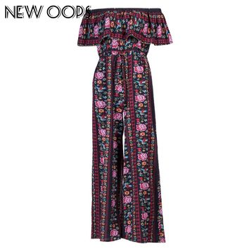 NEW OOPS Women Fashion Bohemian Long Jumpsuit New Arrival Ruffles Chiffon Beach Floral Print Female Overalls Rompers A1710408