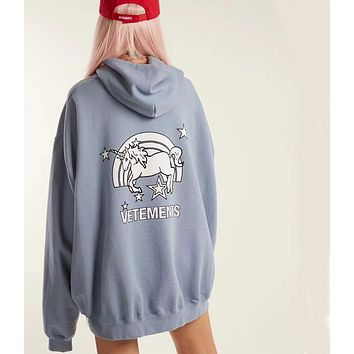 Vetements Fashion Unicorn Print Loose Hoodie Sweatshirt