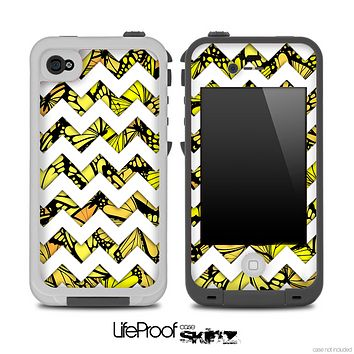 Yellow Butterfly Print and White Chevron Pattern for the iPhone 5 or 4/4s LifeProof Case