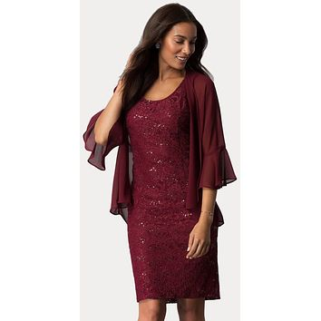 Burgundy Short Wedding Guest Dress with Chiffon Bolero Jacket