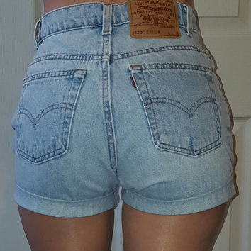LEVI'S HIGH WAIST Vintage Jean Denim Cuffed Shorts Light Blue Authentic Reworked Mom 24 25 26 27 28 29 30 31 32 33 34 35 36 37 38 All Sizes
