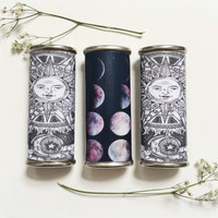Sun & Moon or Moon Phases Metal Lighter Case
