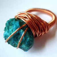 Raw chrysocolla ring - copper ring - size 7 1/2 - raw stone ring - wrapped ring  - cocktail ring - chunky ring - thick ring - OOAK ring