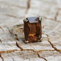 Vintage Chunky Gold and Brown Topaz Ring
