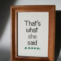 That's What She Said cross stitch, funny and subversive stitchery