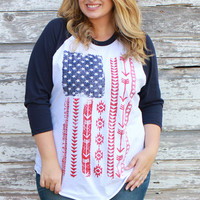 """Live Free"" American Flag 3/4 Sleeve Raglan Top ~ Navy ~ Sizes 12-18"