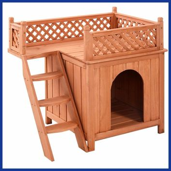 Wooden Puppy Pet Dog House Wood Room In/Outdoor Raised Roof Balcony Bed Shelter.