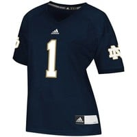 adidas Notre Dame Fighting Irish #1 Women's Replica Football Jersey - Navy Blue