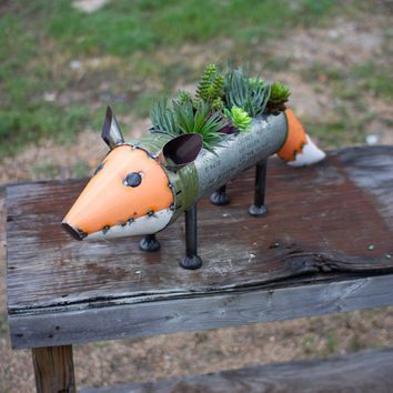 Recycled Metal Fox Cooler/Planter