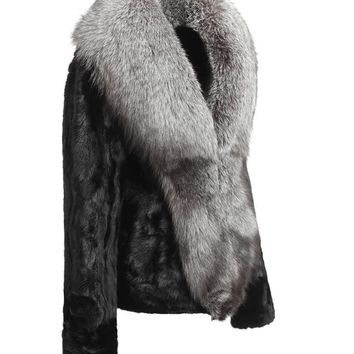 Genuine real mink fur coat with big fox fur collar - plus sizes