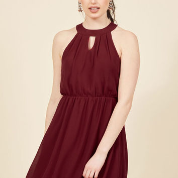City Sway A-Line Dress in Wine
