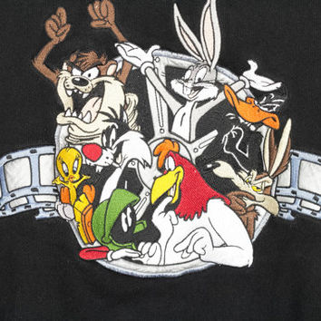 90s LOONEY TUNES sweatshirt / vintage 1990s / black sweater / minimal / bugs / daffy / taz / marvin martian / foghorn / wile coyote / large