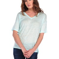 Majestic Linen V-neck Tee - Mint