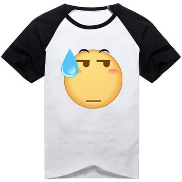 18Colors Emoji Emoticons Smiley Faces T-shirt Cosplay Costume Cute Funny Faces Short Sleeve Cotton Tee Shirt Daily Casual Tops