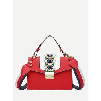 Rhinestone Bag With Detachable Guitar Strap Red