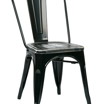 Office Star Black/Ash Crazy Horse Bristow Metal Chair with Vintage Wood Seat (Set of 2)