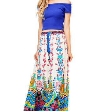 Abstract Prints Maxi Skirt