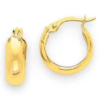 4.75mm, 14k Yellow Gold Half Round Hoop Earrings, 12mm (7/16 Inch)