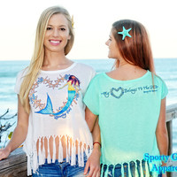 Mermaid with starfish heart crop top shirts